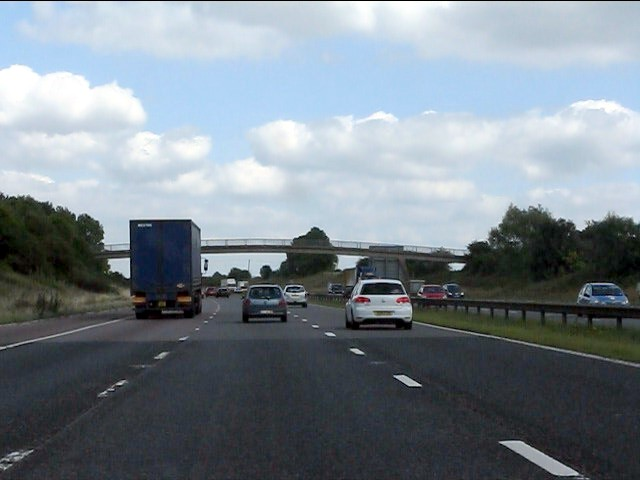 M5 Motorway - footbridge east of Churchdown Hill