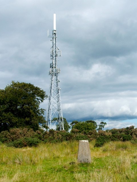Aucheneck trig point, and telecoms mast