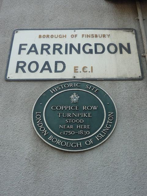 Coppice Row Turnpike green plaque - Coppice Row Turnpike stood near here c1750-1830