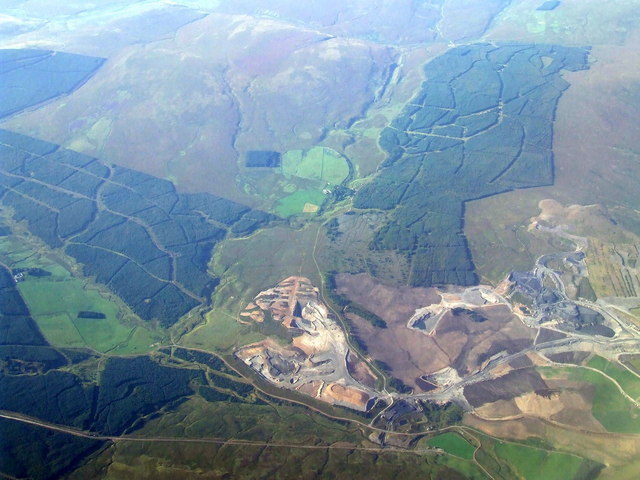 Glentaggart opencast coal mine from the air