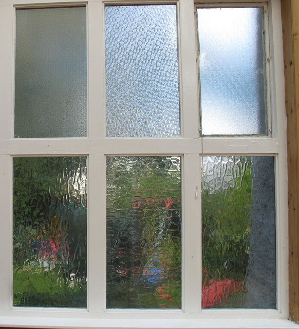 Hammered (cathedral) glass window at the Voysey Studio