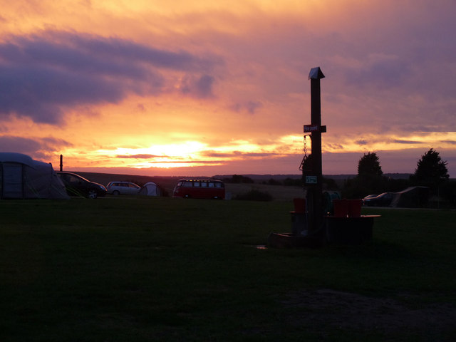 Sunset over Stiffkey camp site