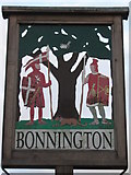 TR0535 : Close-up of Bonnington Village Sign by David Anstiss