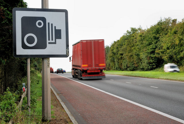 Speed camera sign, Hillsborough bypass