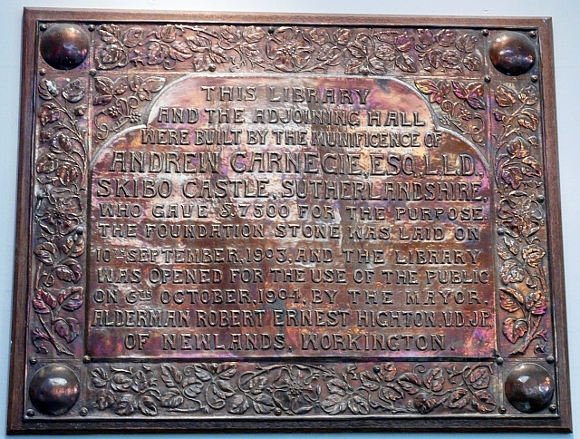 Commemorative plaque, Workington's Carnegie Library