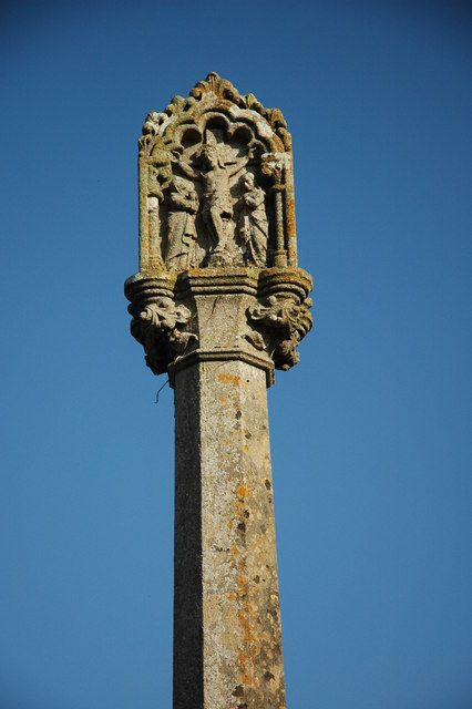 Detail of a cross at Llangovan