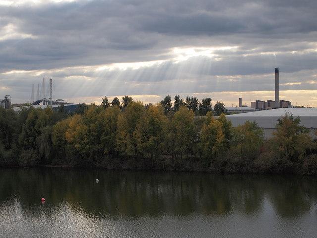 Lake at Lakeside QE2 Bridge in distance