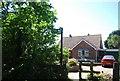 TQ8468 : Saxon Shore Way sign, Poots Lane by N Chadwick