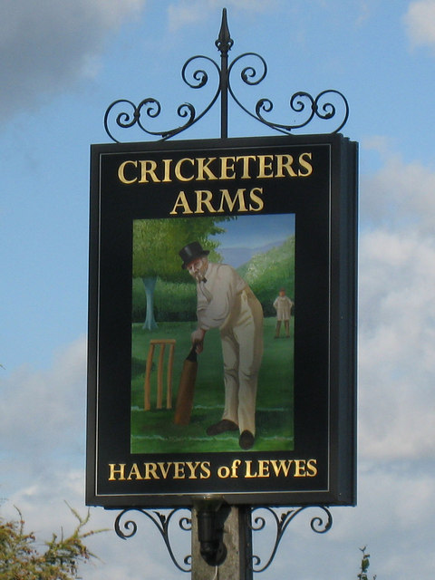 The Cricketers Arms sign
