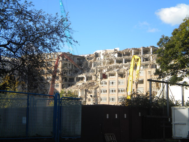 Charles House demolition from Warwick Road W14