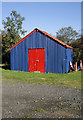 NY3685 : A colourful shed at Langholm Rugby Football Ground : Week 42