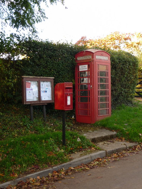 West Stour: postbox № SP8 56, phone and noticeboard