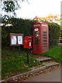 ST7822 : West Stour: postbox № SP8 56, phone and noticeboard by Chris Downer