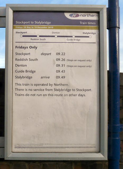 Stockport to Stalybridge Timetable