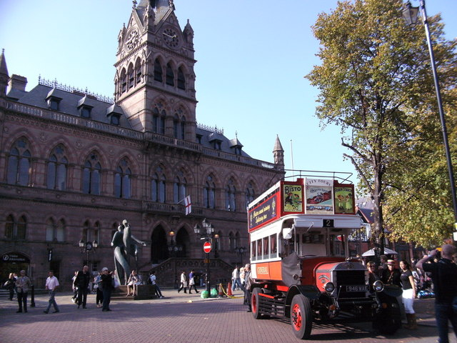 Tourist Bus and Town Hall, Chester