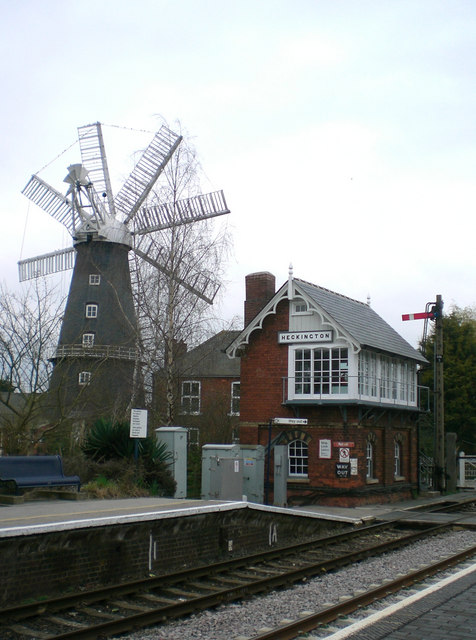 21st century Lincolnshire: windmill and signalbox at Heckington