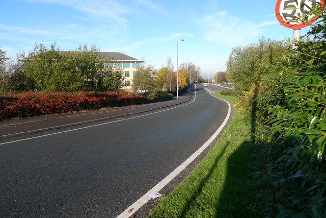 Slip road near Cheadle Royal