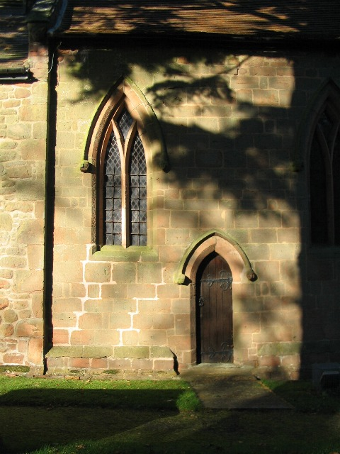 Corley Church, south doorway and window