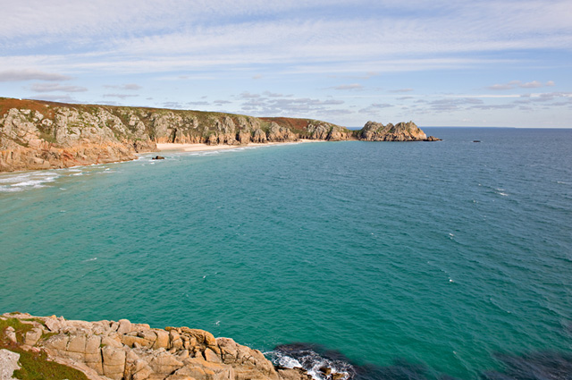 Porthcurno Beach and Logan's Rock