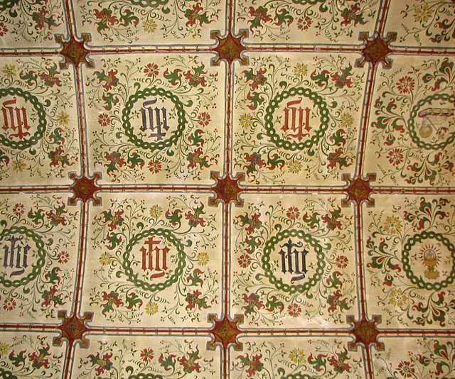 All Saints' church in Hawstead - painted chancel roof