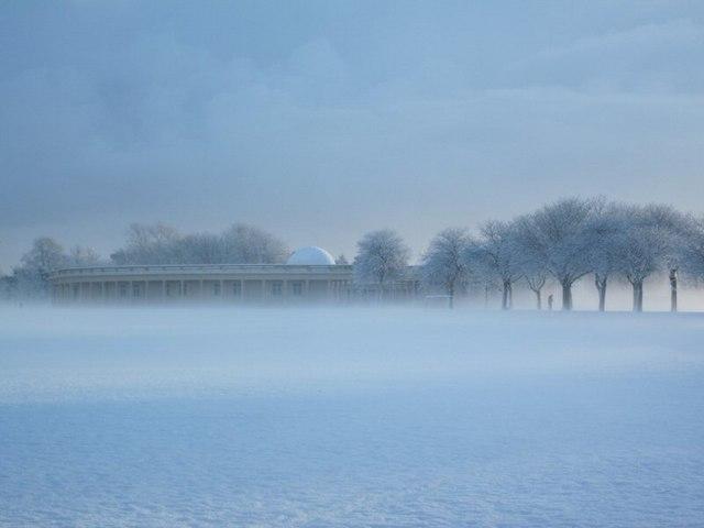 Eaton Park pavilions in snow