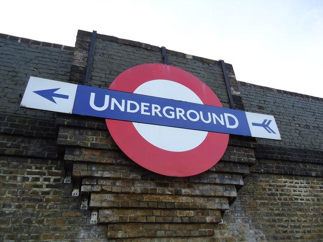 Underground sign on bridge above North Circular Road, Brent Cross
