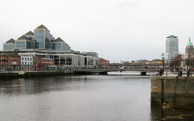 Matt Talbot Bridge and the Ulster Bank RoI HQ from Custom House Quay