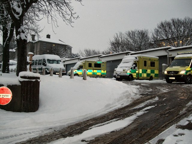 Ambulance station in the snow
