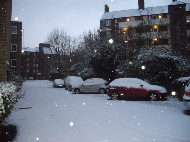 Snow falling in Bessborough Place, Pimlico