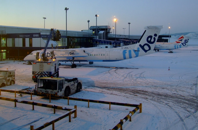 Snow-bound Glasgow Airport