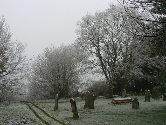 Trees, graves and wheeltracks, Parish Church of St John and St Helen, Church Hill, Wroughton, Swindon