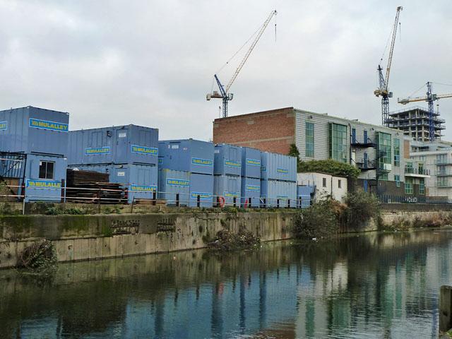 Portable unit depot by Limehouse Cut