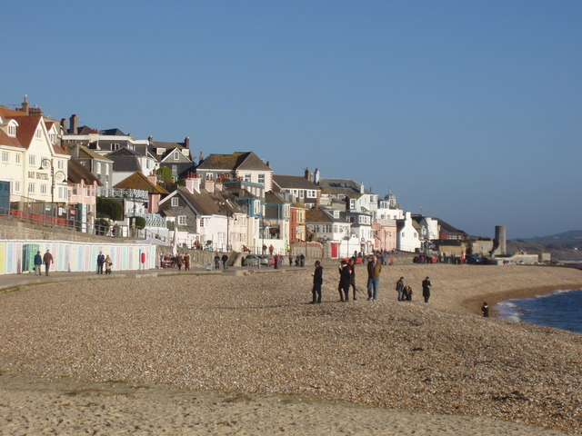 Winter day on the beach at Lyme Regis
