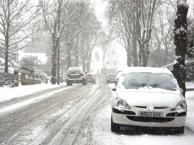 Priory Road in the snow