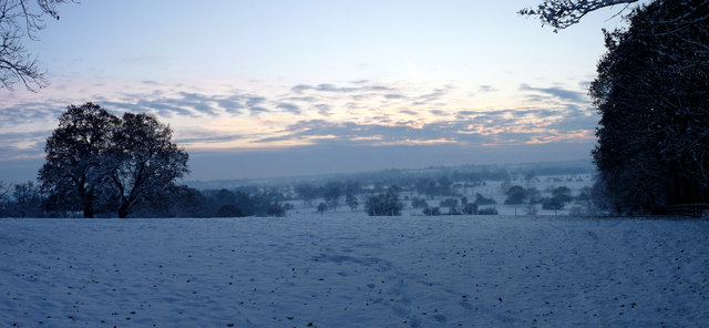 Snowy Dedham Vale after sunset