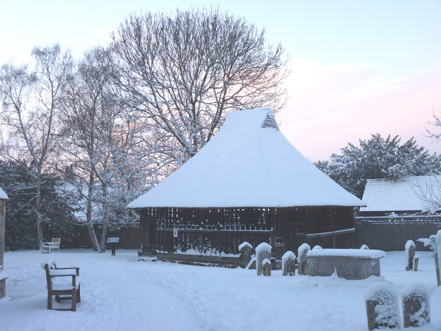 Wintry graveyard and bell cage