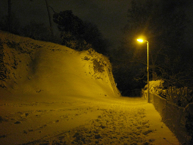 Corner of Roman Wall in the snow