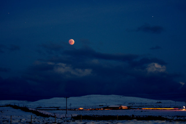 Lunar eclipse over Baltasound