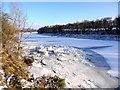 NZ1365 : Frozen River Tyne below Close House by Andrew Curtis
