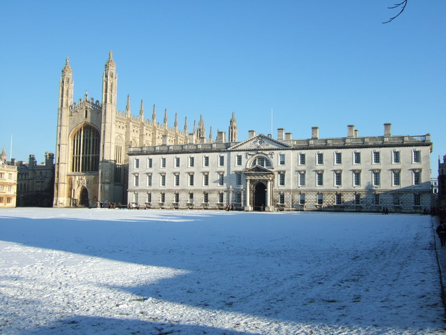 Snow on the lawn, King's College Cambridge - Christmas Day 2010