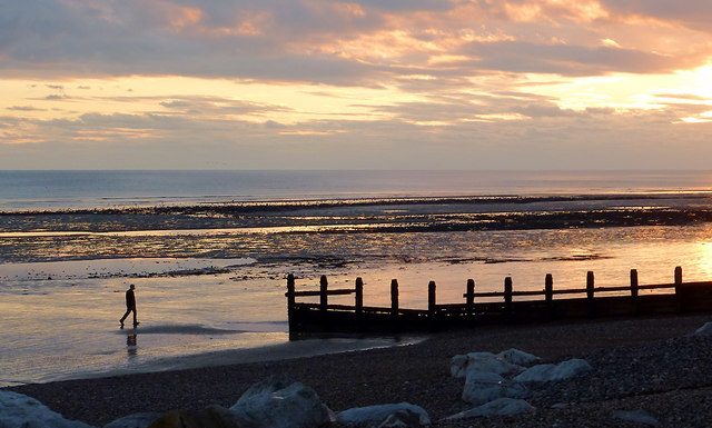 Worthing Beach at dusk, West Sussex