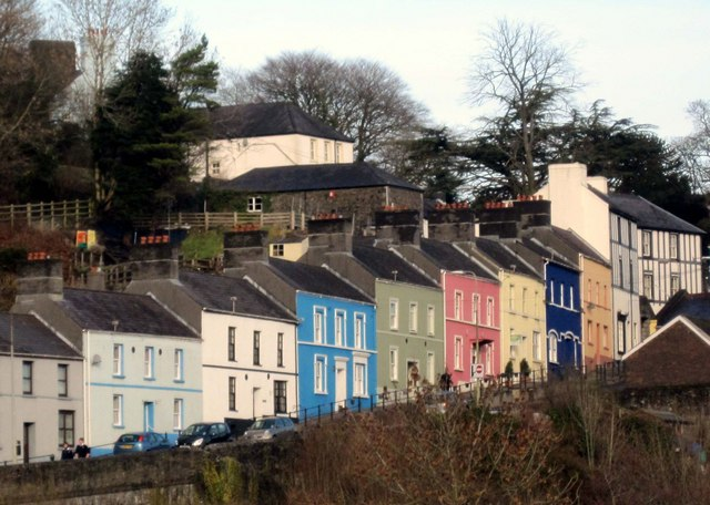 Colourful houses above Llandeilo bridge