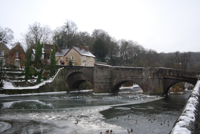 Ludford Bridge crossing a frozen River Teme.