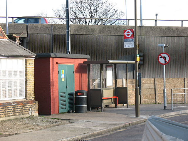 Bus stop and substation, Westcombe Hill