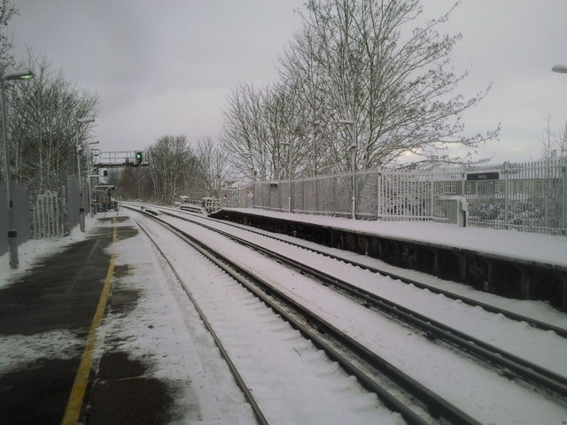 Welling station in snow