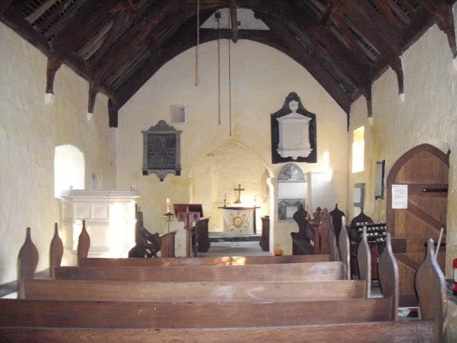 Interior of St Brynach's Church, Llanfrynach