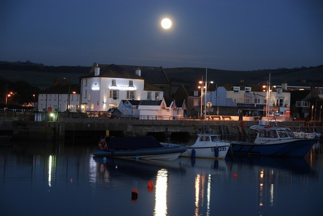 West Bay: Full moon over the harbour