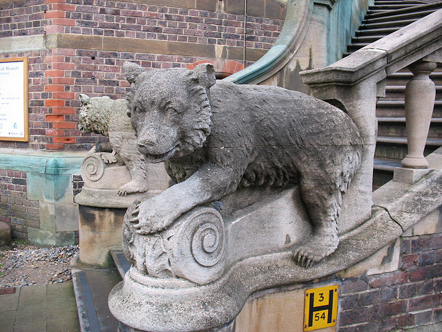 Bears on the steps of the Sedgwick Museum