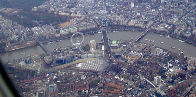 Waterloo station and the London Eye from the air