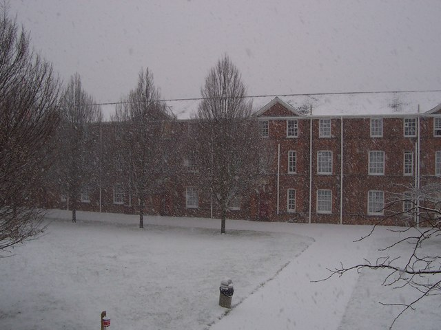 Snow in Pearson Court, St. Patrick's Hall